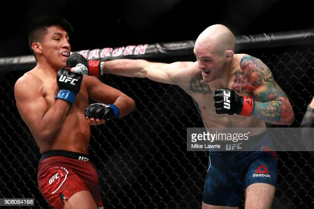 Matt Bessette punches Enrique Barzola in their Flyweight fight during UFC 220 at TD Garden on January 20 2018 in Boston Massachusetts