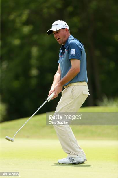 Matt Bettencourt misses his putt on the 4th during Round Two of the Zurich Classic of New Orleans at TPC Louisiana on April 25, 2014 in Avondale,...