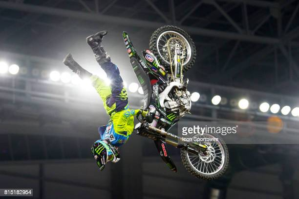 Matt Bink flips during Moto X Freestyle at X Games Minneapolis on July 14 2017 at US Bank Stadium in Minneapolis Minnesota