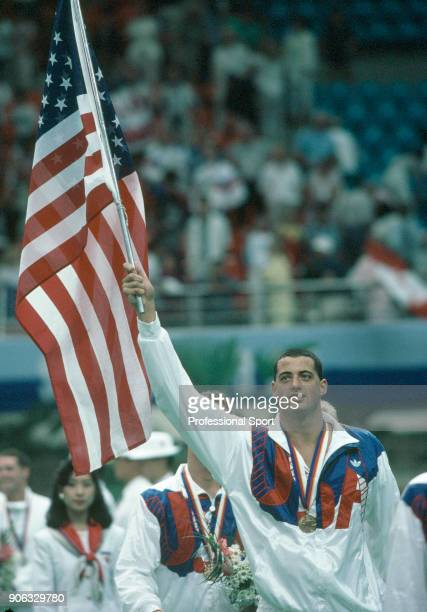 Matt Biondi of the USA after receiving one of his five gold medals during the Summer Olympic Games in Seoul South Korea circa September 1988
