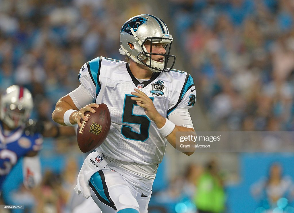 Matt Blanchard #5 of the Carolina Panthers drops back to pass against the Buffalo Bills during their game at Bank of America Stadium on August 8, 2014 in Charlotte, North Carolina. Buffalo won 20-18.