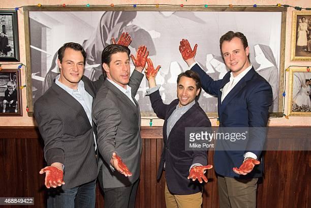 Matt Bogart Richard H Blake Joseph Leo Bwarie and Quinn VanAntwerp from the cast of Broadway's Jersey Boys visit Buca di Beppo Times Square on April...