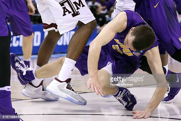 Matt Bohannon of the Northern Iowa Panthers falls to the ground late in the second half against the Texas A&M Aggies during the second round of the...
