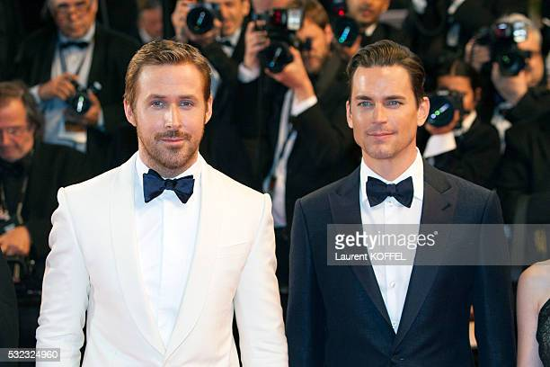 Matt Bomer and Ryan Gosling attend 'The Nice Guys' premiere during the 69th annual Cannes Film Festival at the Palais des Festivals on May 15 2016 in...