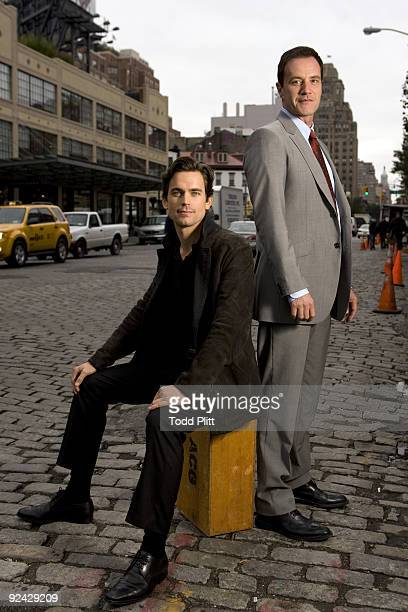 Matt Bomer and Tim DeKay on set in New York City's meatpacking district while filming the new television drama White Collar