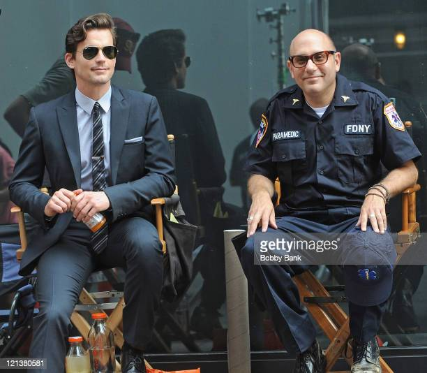 Matt Bomer and Willie Garson film on location for 'White Collar' on the Streets of Manhattan on August 18 2011 in New York City