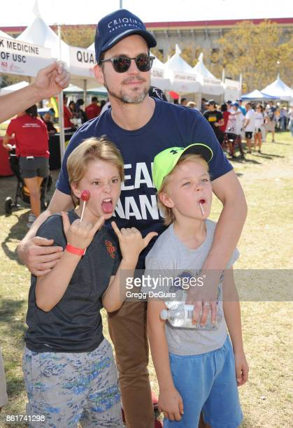 Matt Bomer Henry Halls and Walker Halls attend Nanci Ryder's 'Team Nanci' 15th Annual LA County Walk To Defeat ALS at Exposition Park on October 15...
