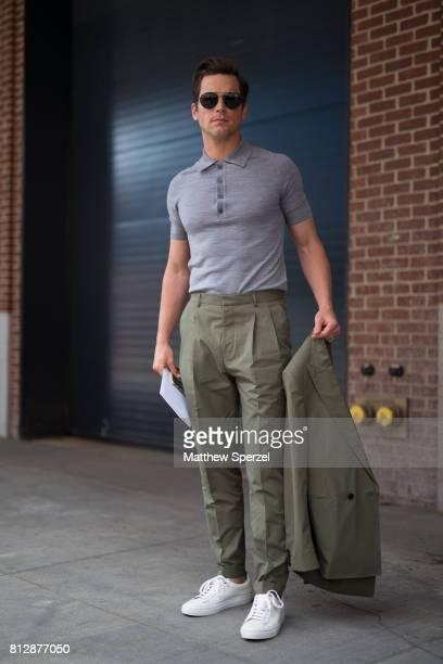 Matt Bomer is seen attending BOSS during Men's New York Fashion Week wearing Hugo Boss on July 11, 2017 in New York City.