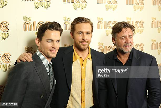 Matt Bomer Ryan Gosling and Russell Crowe attend the New York Screening of The Nice Guys at Metrograph on May 12 2016 in New York City