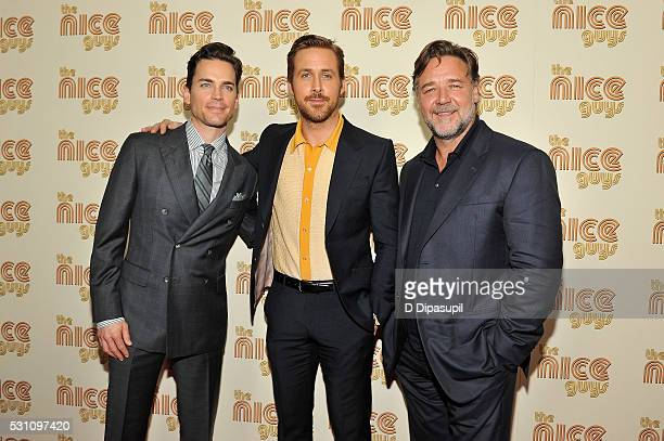 Matt Bomer Ryan Gosling and Russell Crowe attend The Nice Guys New York screening at Metrograph on May 12 2016 in New York City