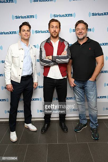 Matt Bomer Ryan Gosling and Russell Crowe attend the SiriusXM's 'Town Hall' With The Cast Of 'Nice Guys' on May 12 2016 in New York City