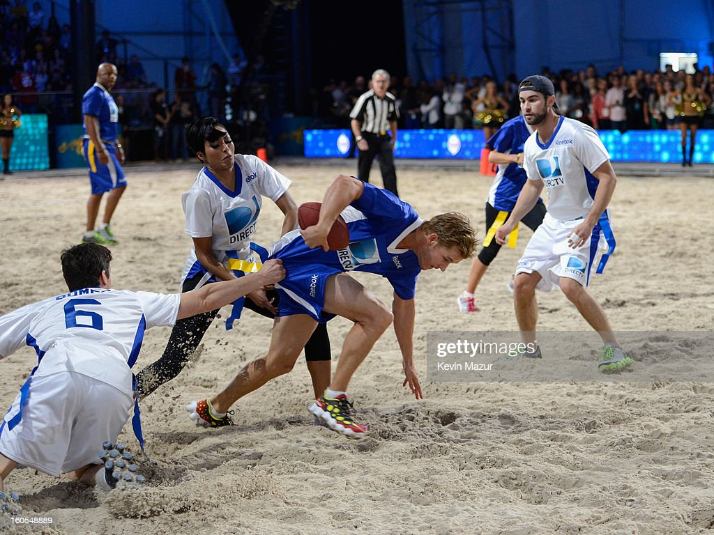 Matt Bomer, Ryan Kwanten, Alicia Quarles, and Chace Crawford attend DIRECTV'S 7th annual celebrity Beach Bowl at DTV SuperFan Stadium at Mardi Gras World on February 2, 2013 in New Orleans, Louisiana.