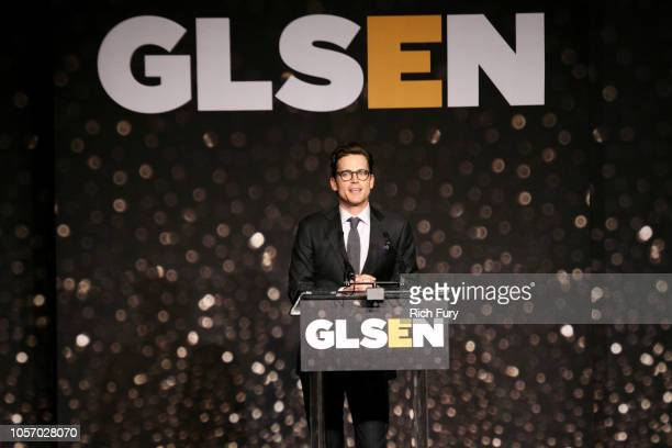 Matt Bomer speaks onstage at the GLSEN Respect Awards at the Beverly Wilshire Four Seasons Hotel on October 19 2018 in Beverly Hills California