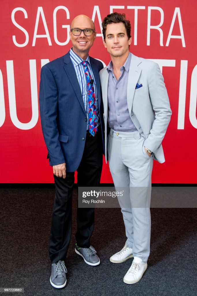 Matt Bomer (L) with moderator Richard Ridge attend SAG-AFTRA Foundation's Conversations on Broadway with Matt Bomer at The Robin Williams Center on July 12, 2018 in New York City.