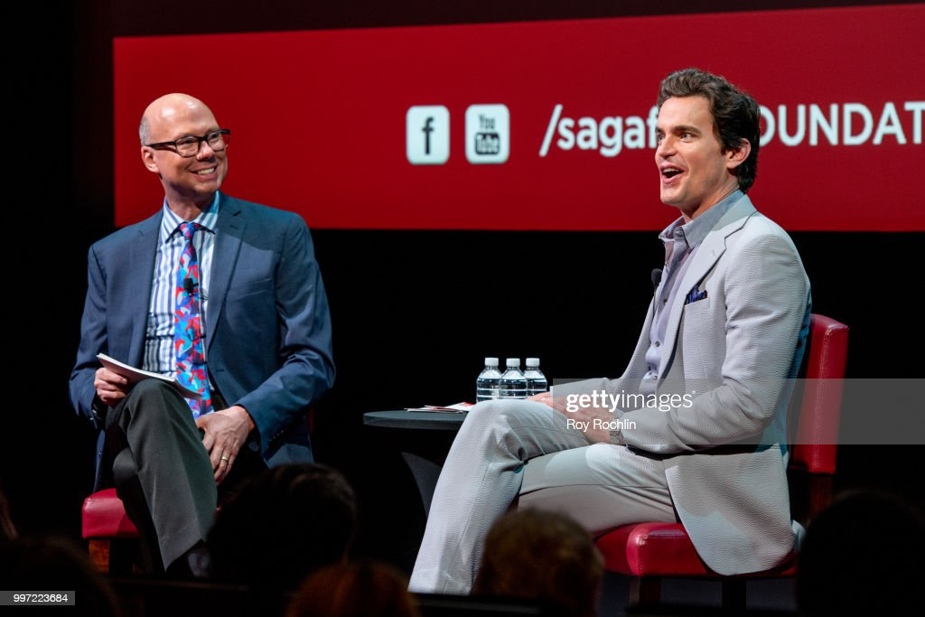 Matt Bomer (L) with moderator Richard Ridge on stage during SAG-AFTRA Foundation's Conversations on Broadway with Matt Bomer at The Robin Williams Center on July 12, 2018 in New York City.
