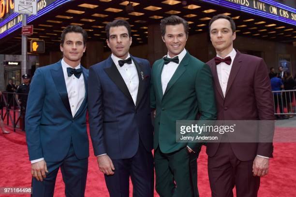 Matt Bomer Zachary Quinto Andrew Rannells and Jim Parsons attend the 72nd Annual Tony Awards at Radio City Music Hall on June 10 2018 in New York City