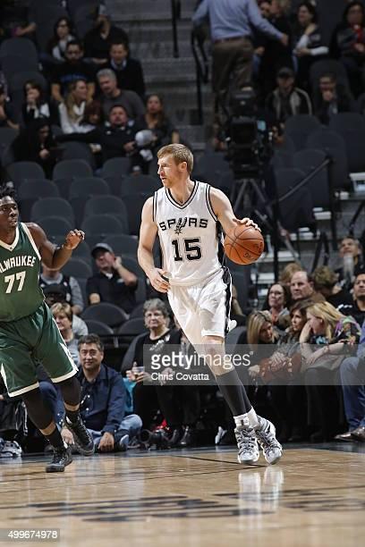 Matt Bonner of the San Antonio Spurs handles the ball against the Milwaukee Buck on December 2 2015 at the ATT Center in San Antonio Texas NOTE TO...