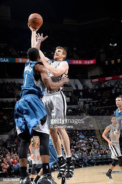 Matt Bonner of the San Antonio Spurs shoots against the Minnesota Timberwolves at the ATT Center on December 6 2014 in San Antonio Texas NOTE TO USER...