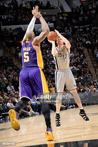 Matt Bonner of the San Antonio Spurs takes a shot against the Los Angeles Lakers at the ATT Center on December 12 2014 in San Antonio Texas NOTE TO...