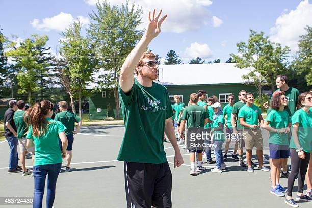 Matt Bonner of the San Antonio Spurs visits the Seeds of Peace Camp in Otisfield Maine for the 2015 Play for Peace Day on August 5 2015 NOTE TO USER...
