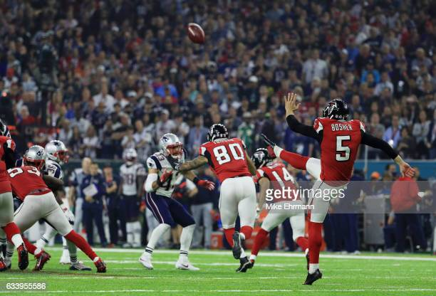 Matt Bosher of the Atlanta Falcons punts the ball against the New England Patriots in the fourth quarter during Super Bowl 51 at NRG Stadium on...