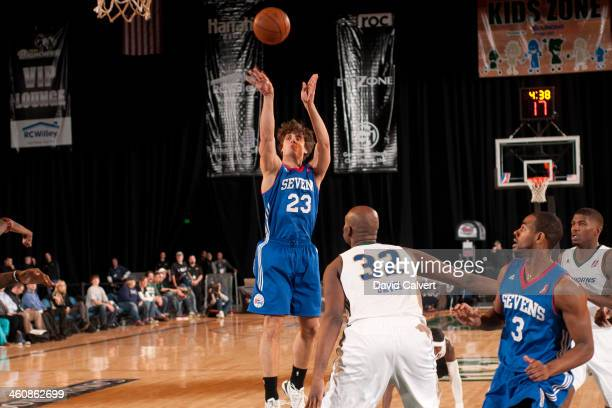 Matt Bouldin of the Delaware 87ers shoots against the Reno Bighorns during the 2014 NBA DLeague Showcase presented by Samsung Galaxy on January 5...