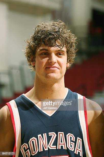Matt Bouldin of the Gonzaga Bulldogs is interviewed after the game against the Loyola Marymount Lions on January 24 2009 at Gersten Pavilion in...