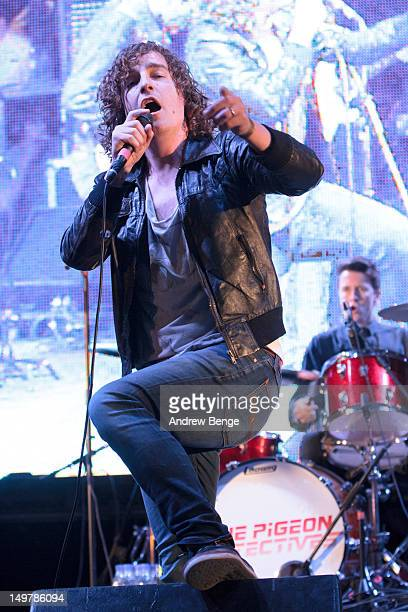 Matt Bowman of The Pigeon Detectives performs on stage during day one of the Y Not Festival which takes place in the Peak District on August 3, 2012...