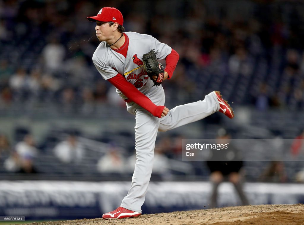 Matt Bowman #67 of the St. Louis Cardinals delivers a pitch in the fifth inning against the New York Yankees on April 16, 2017 at Yankee Stadium in the Bronx borough of New York City.