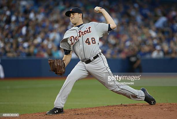Matt Boyd of the Detroit Tigers delivers a pitch in the second inning during MLB game action against the Toronto Blue Jays on August 28 2015 at...