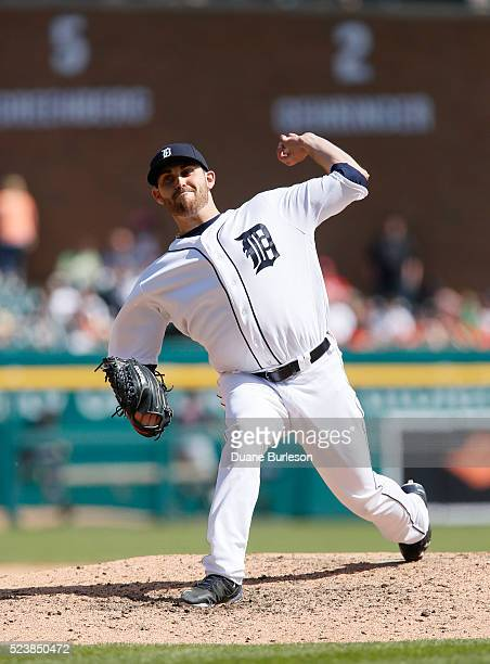 Matt Boyd of the Detroit Tigers pitches against the Cleveland Indians during the eighth inning at Comerica Park on April 24 2016 in Detroit Michigan...