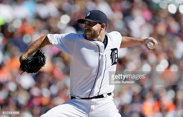Matt Boyd of the Detroit Tigers pitches against the Kansas City Royals during the first inning at Comerica Park on September 25 2016 in Detroit...