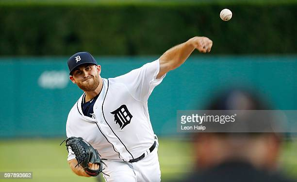 Matt Boyd of the Detroit Tigers warms up prior to the start of the game against the Chicago White Sox on August 29 2016 at Comerica Park in Detroit...