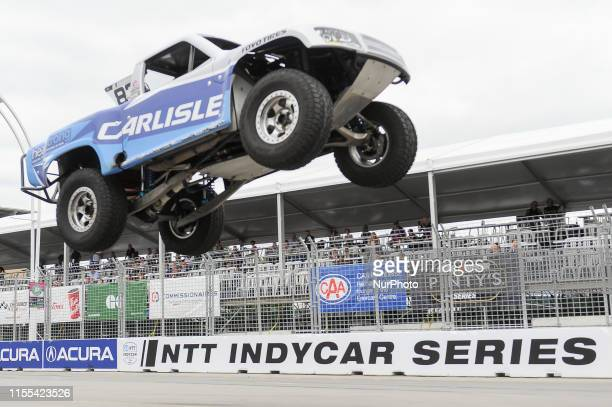 Matt Brabham from Queensland, Australia at Carlisle on the race during the SPEED Energy Stadium SUPER Trucks race on July 12 the first day of the...