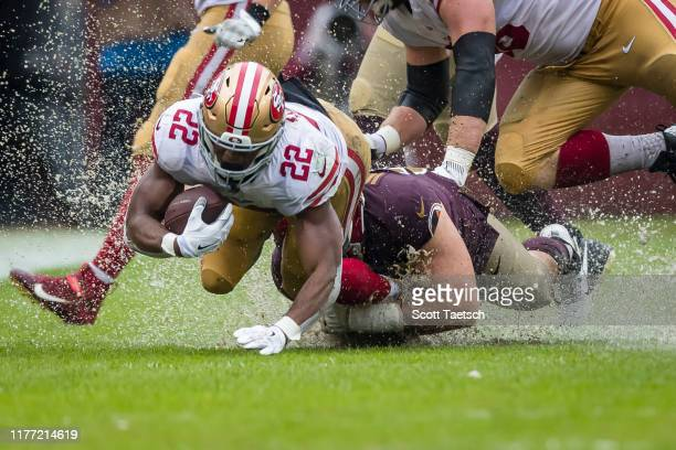 Matt Breida of the San Francisco 49ers carries the ball against the Washington Redskins during the first half at FedExField on October 20 2019 in...