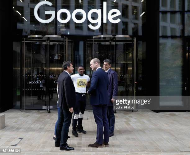 Matt Brittin President EMEA Business and Operations at Google Brent Hoberman Chair of Taskforce and James Okulaja of Young People's Panel greet...