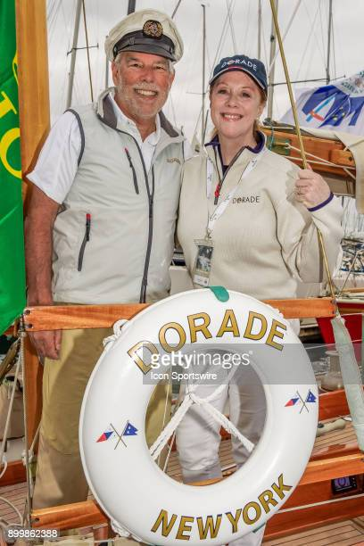 Matt Brook and wife Pam pictured aboard their famous American classic wooden 52foot yawl Dorade prior to the start of the 73nd Rolex Sydney Hobart...