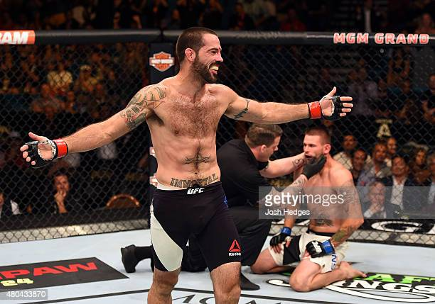 Matt Brown celebrates his win over Tim Means in their welterweight fight during the UFC 189 event inside MGM Grand Garden Arena on July 11 2015 in...