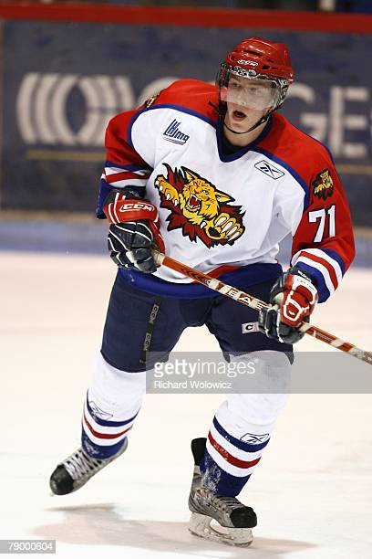 Matt Brown of the Moncton Wildcats skates during the game against the Drummondville Voltigeurs at the Centre Marcel Dionne on January 13, 2008 in...