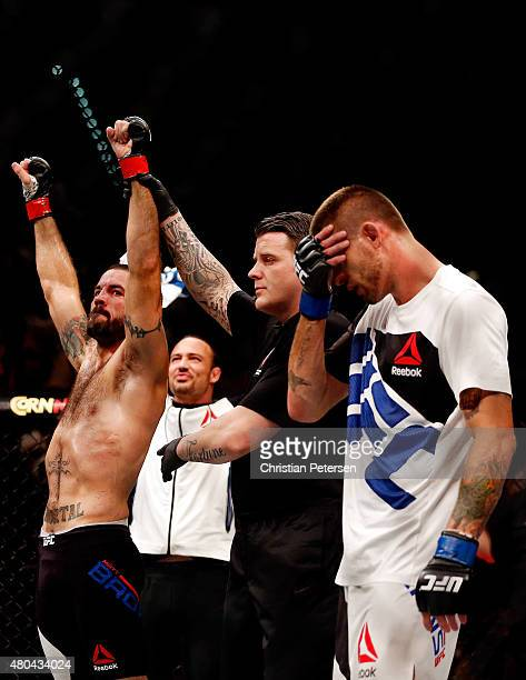 Matt Brown reacts to his victory over Tim Means in their welterweight fight during the UFC 189 event inside MGM Grand Garden Arena on July 11 2015 in...