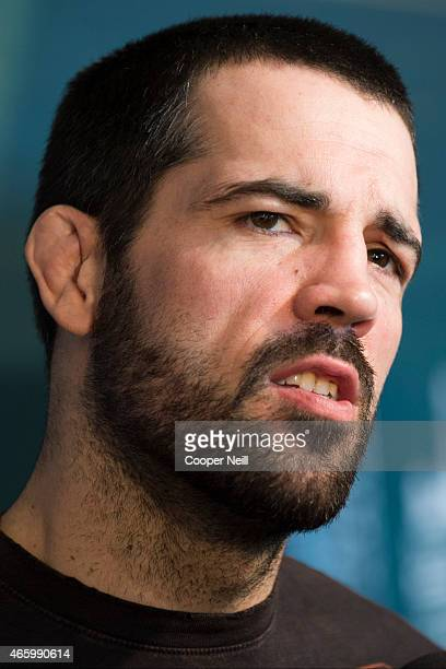 Matt Brown speaks with the media during the UFC 185 Ultimate Media Day at the American Airlines Center on March 12 2015 in Dallas Texas