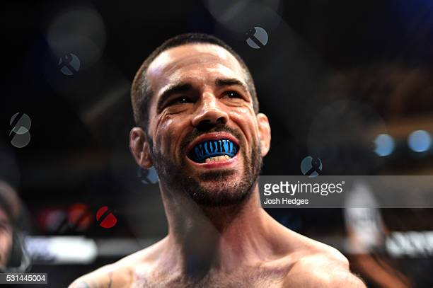 Matt Brown stands in his corner before facing Demian Maia of Brazil in their welterweight bout during the UFC 198 event at Arena da Baixada stadium...