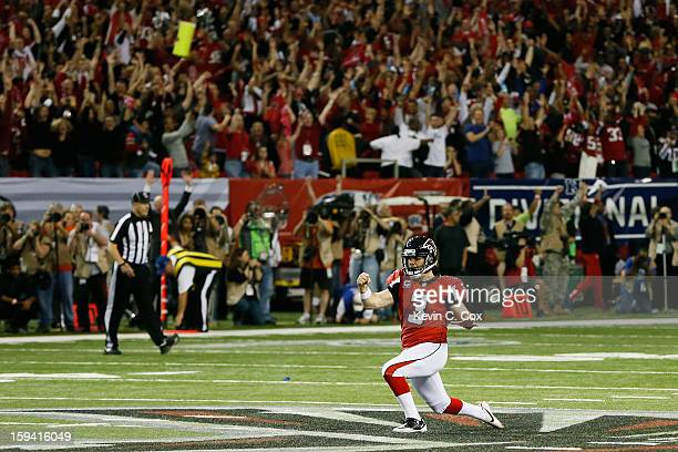 Matt Bryant of the Atlanta Falcons celebrates after kicking the game winning field goal in the fourth quarter of the NFC Divisional Playoff Game...