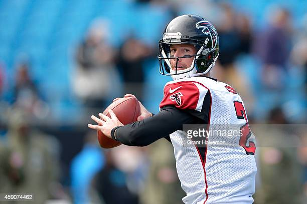 Matt Bryant of the Atlanta Falcons throws a warm up pass before the game against the Carolina Panthers at Bank of America Stadium on November 16 2014...