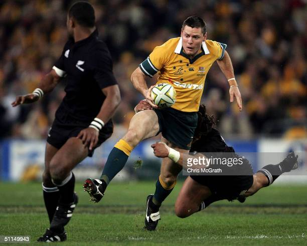 Matt Burke of the Wallabies in action during the Bledisloe Cup match between the Australian Wallabies and the New Zealand All Blacks at Telstra...