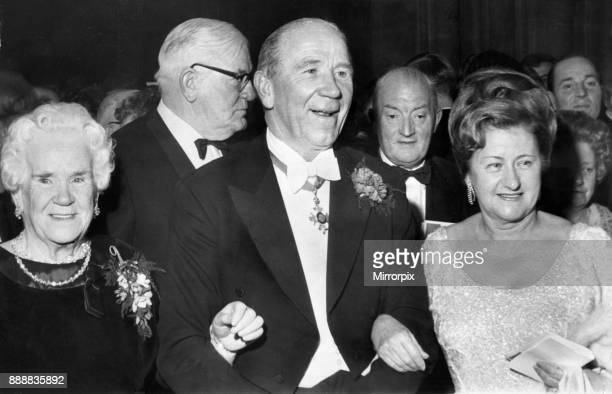 Matt Busby Manchester United Manager arrives to receive the Freedom of Manchester with his mother and wife Jean Later he was to pay tribute to both...