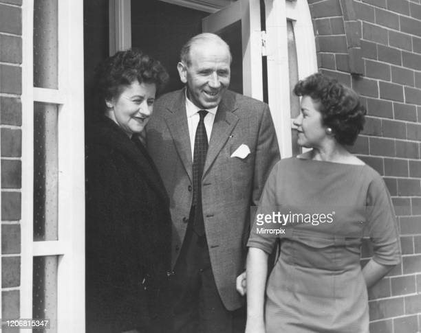 Matt Busby Manchester United Manager delighted to be back home in Charlton after Munich Air Disaster pictured with wife Jean and daughter Sheena 12th...