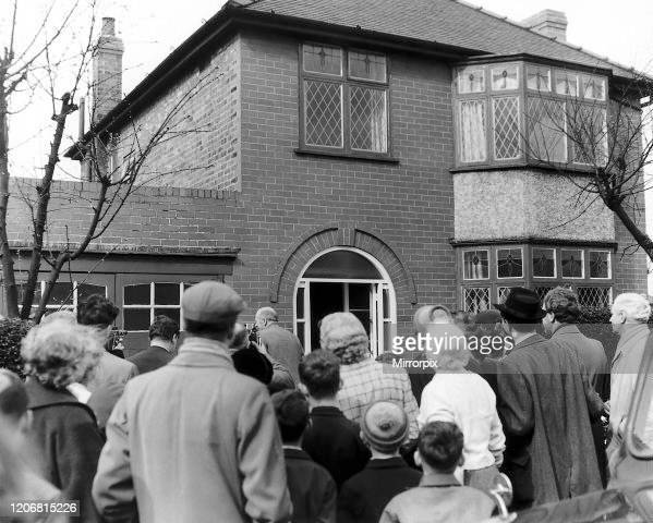 Matt Busby returns home after the Munich Air Disaster 1958 at his home in Kings Road Chorlton as the crowds gathered to welcome him home 18th April...