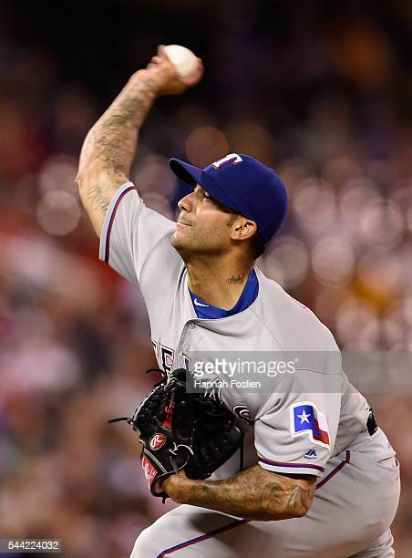Matt Bush of the Texas Rangers delivers a pitch against the Minnesota Twins during the eighth inning of the game on July 1 2016 at Target Field in...