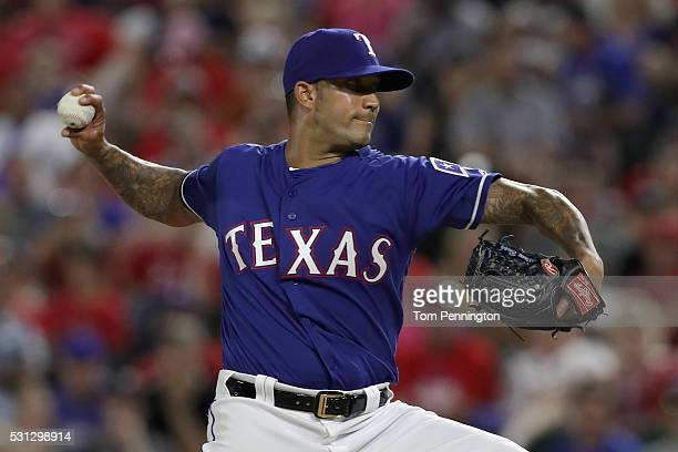 Matt Bush of the Texas Rangers makes his MLB debut against the Toronto Blue Jays in the top of the ninth inning at Globe Life Park in Arlington on...